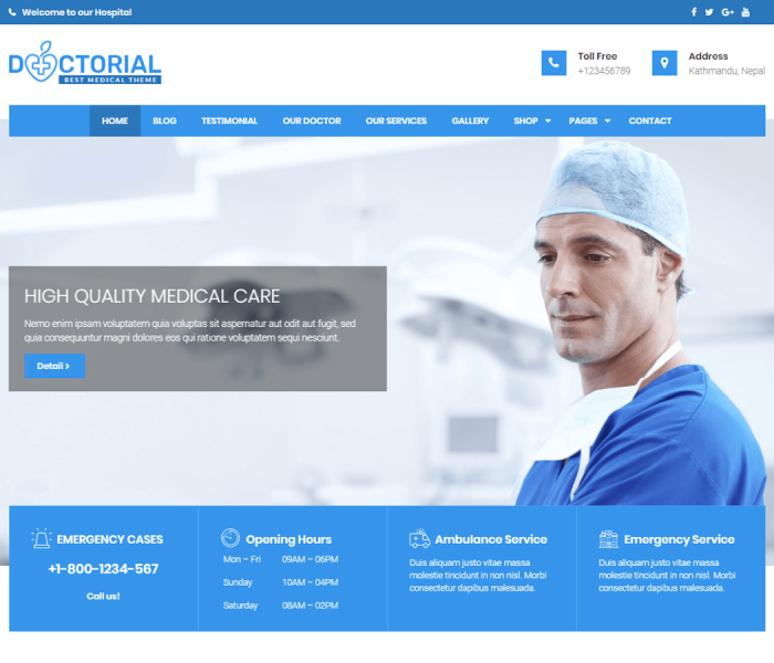 Best Free WordPress Medical Theme in 2018