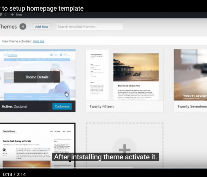 Doctorial – How to setup Homepage Template